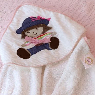 Toalha de banho bebé ZEQUINHA & PUPPETTE | PIUBELLE