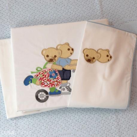 Jogo de lençol berço bebé TROTINETE | PIUBELLE