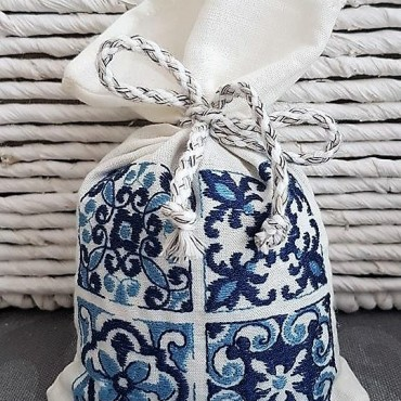 Embroidered Lavender Sachet - Azulejo